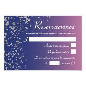 Quinceanera Royal Pink Silver Spanish Reservacion Invitation