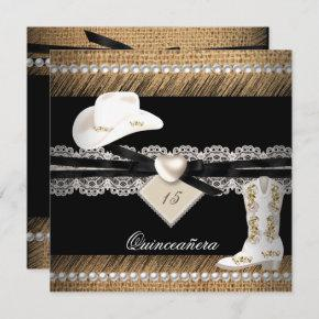 Quinceanera Rustic Burlap Cowgirl Hat Boots Party Invitation