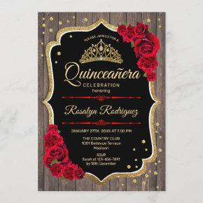 Quinceanera - Rustic Wood Gold Red Invitation