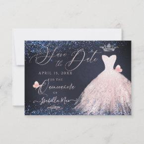 Quinceanera Save Date Butterfly Blush Gown Navy Invitation