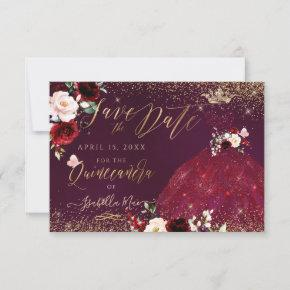 Quinceanera Save the Date Burgundy Gown Invitation