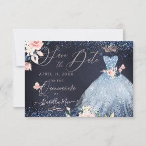Quinceanera Save the Date Dusty Blue Gown Invitation