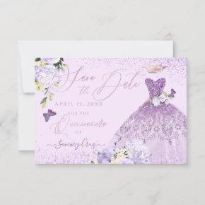 Quinceanera Save the Date Dusty Purple Gown Invitation