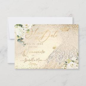 Quinceanera Save the Date Gold Faux Glitter Gown I Invitation