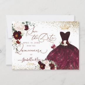 Quinceanera Save the Date Green Faux Glitter Gown Invitation