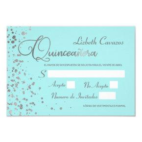 Quinceanera Spanish Response  Blue Silver RSVP