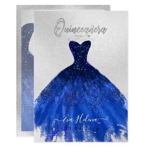 Quinceañera , Sparkle Gown, Navy Blue Invitation