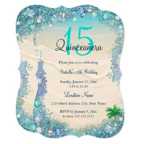 Quinceanera Teal Blue Sand Ocean Beach Birthday Invitations