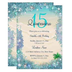 Quinceanera Teal Blue Sand Ocean Beach Birthday Invitation