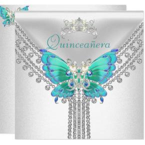 Quinceañera Teal Blue White Butterfly Diamond 2 Invitations