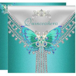 Quinceañera Teal Blue White Butterfly Diamond Invitations