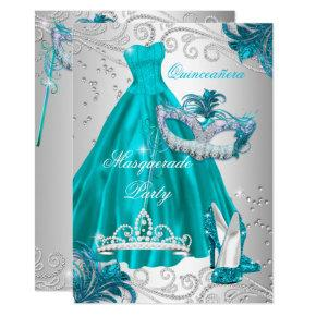Quinceanera Teal Mask Silver Dress Masquerade Blue Invitation