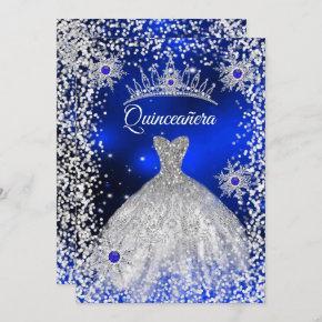 Quinceanera Tiara Dress blue winter Snowflake Invitation