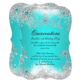 Quinceanera Winter Wonderland Aqua White Snow Card