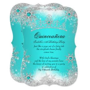 Quinceanera Winter Wonderland Aqua White Snow Invitations