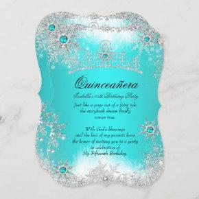 Quinceanera Winter Wonderland Aqua White Snow Invitation