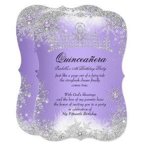 Quinceanera Winter Wonderland Lilac Purple Snow Invitations