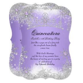 Quinceanera Winter Wonderland Lilac Purple Snow Invitation