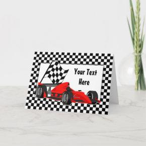 Race Car and Checkered Flag