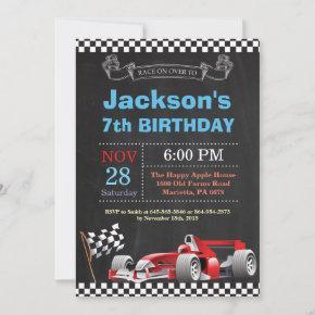 Race Car Birthday Invitation. Boy Birthday Party Invitation