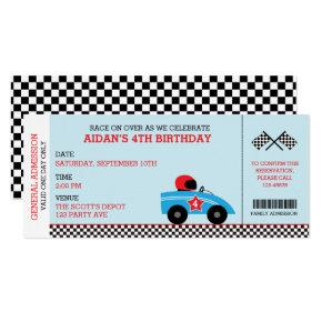 Race Car Birthday  Boarding Pass Ticket