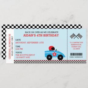 Race Car Birthday  Boarding Pass Ticket