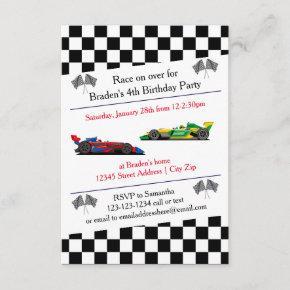 Race Car Birthday Party - 3x5 Invitation