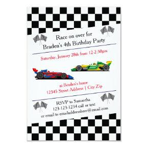 Race Car Birthday Party - 3x5 Invitations