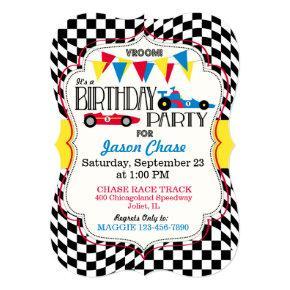 Race Car Birthday Party Invitation Card