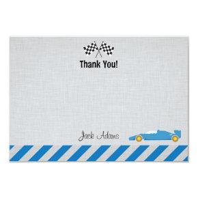 Race Car Birthday Thank You Card
