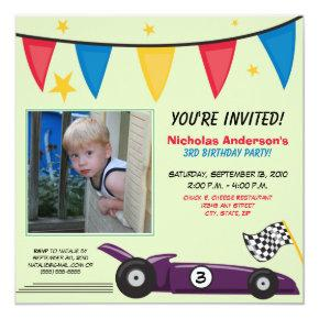 Race Car Custom Birthday Party Invitations (green)