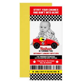 Race Car Photo Template Birthday Party Invitations