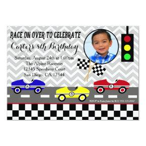 race car racecar boy birthday Invitations