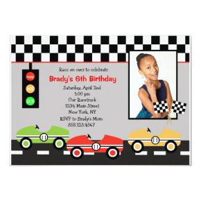 Race Car Racecar Brithday Birthday Invitations 2