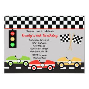 Race Car Racecar Brithday Boys Birthday Invitations