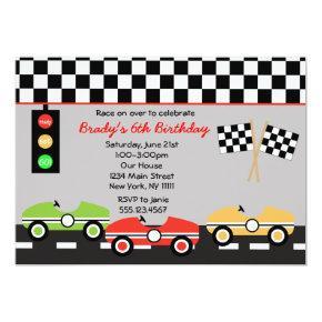 Race Car Racecar Brithday Boys Birthday Invitation