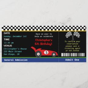 Race Car Racer Birthday Invitation