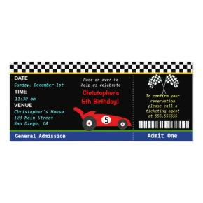 Race Car Racer Birthday Invitations