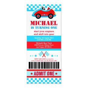 Race Car Ticket Pass Birthday Party Invitations