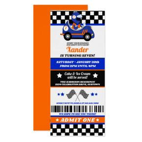 Race Car Ticket Style Birthday Party Invitation