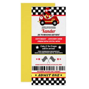 Race Car Ticket Style Birthday Party Invitations