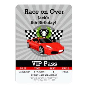 Race Car VIP Pass Birthday Invitations! Invitations