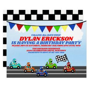 Race Cars Birthday Party Invitations