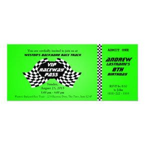 Race Track Pass Birthday Ticket Bright Green Invitation