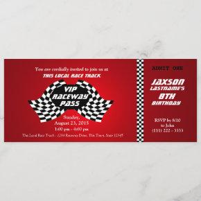 Race Track Pass Birthday Ticket Invitation