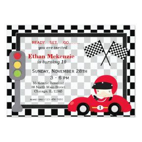 Racecar birthday Invitations