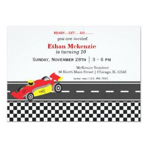 Racecar Birthday Invitation