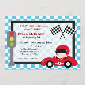 Racecar birthday invitation