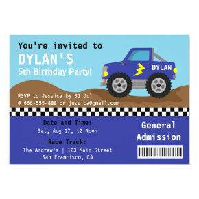 Racing Blue Monster Truck Party, Admission Ticket Invitation