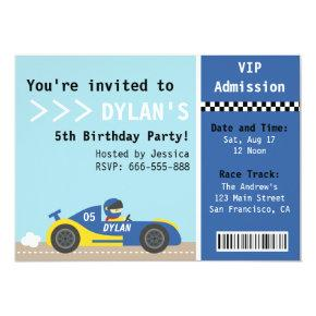 Racing Car, Birthday Party, Boys Admission Ticket Invitations